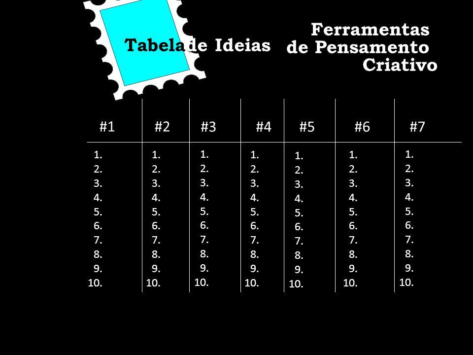 Ferramentas Tabelade Ideias de Pensamento Criativo #1 #2 #3 #4 #5 #6