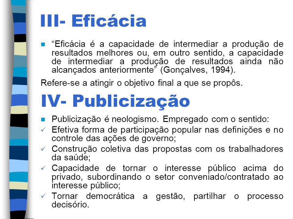 III- Eficácia IV- Publicização