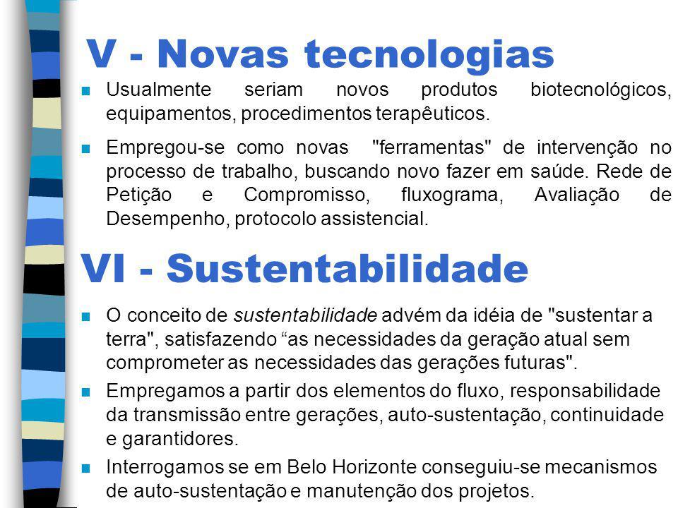 V - Novas tecnologias VI - Sustentabilidade