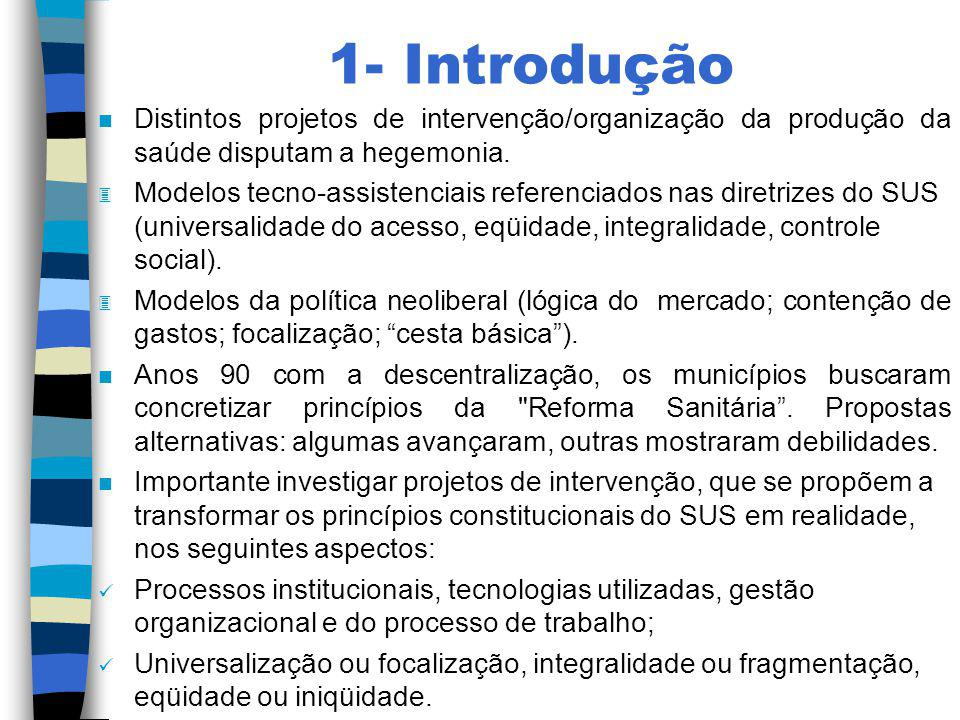 1- Introdução Distintos projetos de intervenção/organização da produção da saúde disputam a hegemonia.