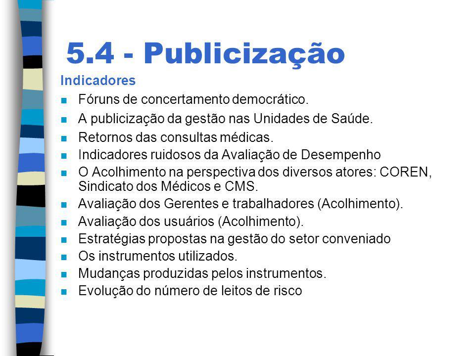 5.4 - Publicização Indicadores Fóruns de concertamento democrático.
