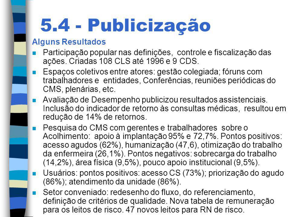 5.4 - Publicização Alguns Resultados