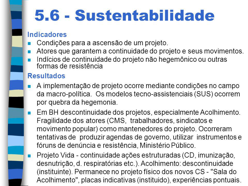 5.6 - Sustentabilidade Indicadores