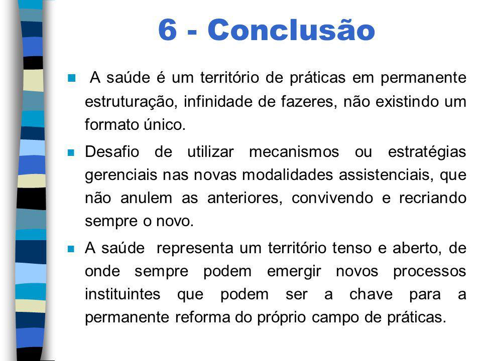 6 - Conclusão A saúde é um território de práticas em permanente estruturação, infinidade de fazeres, não existindo um formato único.