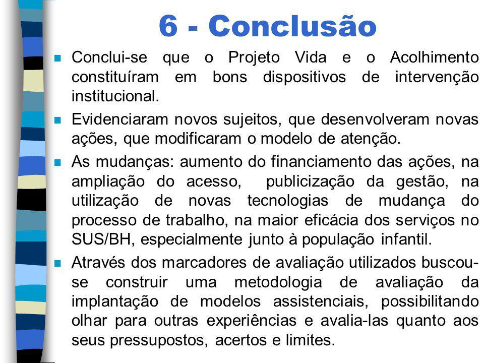 6 - Conclusão Conclui-se que o Projeto Vida e o Acolhimento constituíram em bons dispositivos de intervenção institucional.