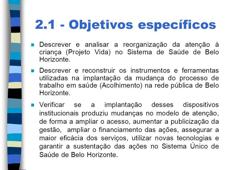 2.1 - Objetivos específicos