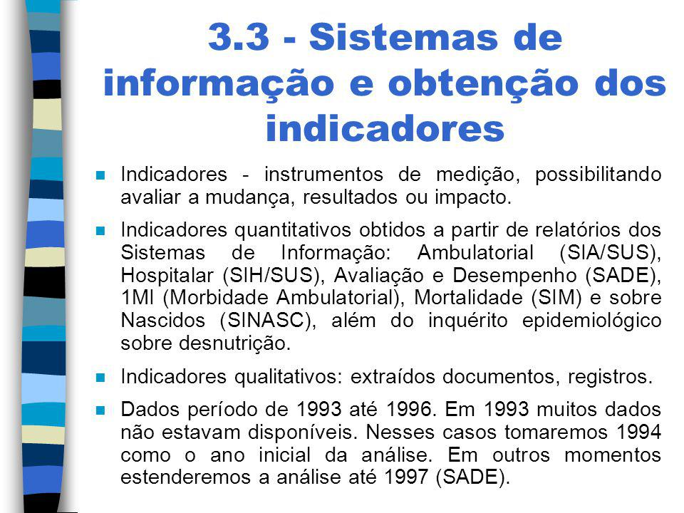 3.3 - Sistemas de informação e obtenção dos indicadores