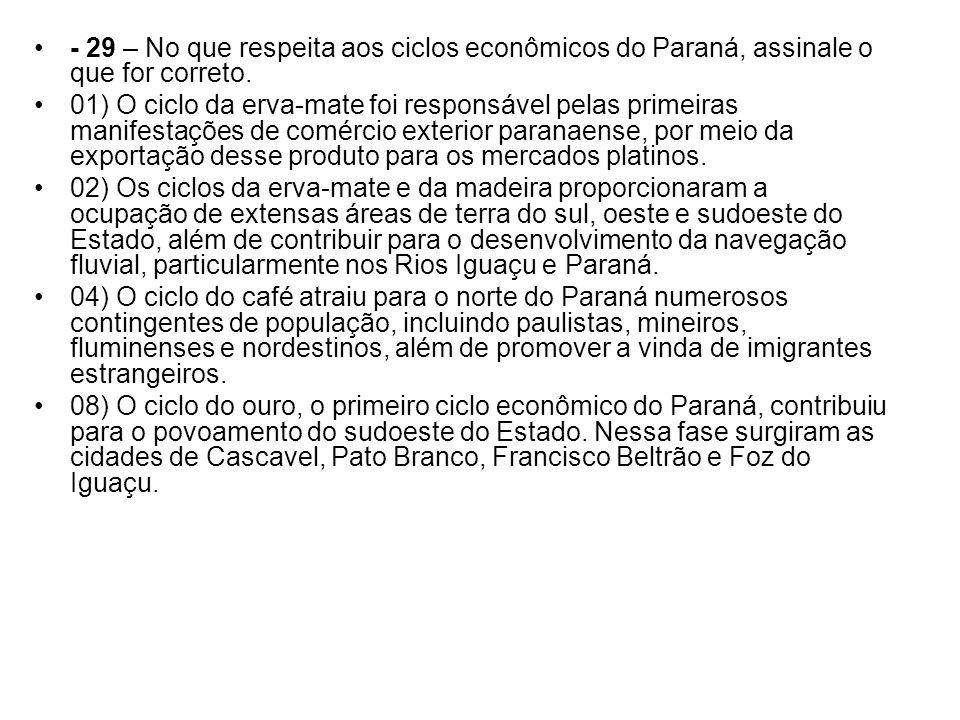 - 29 – No que respeita aos ciclos econômicos do Paraná, assinale o que for correto.