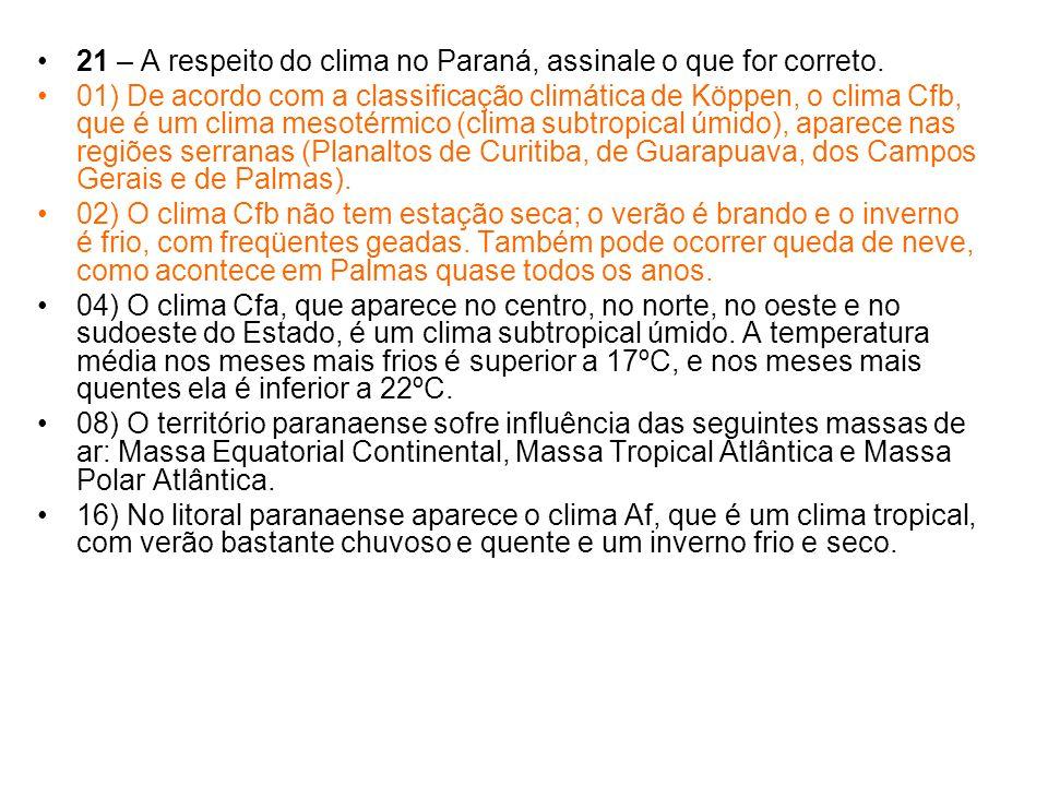 21 – A respeito do clima no Paraná, assinale o que for correto.