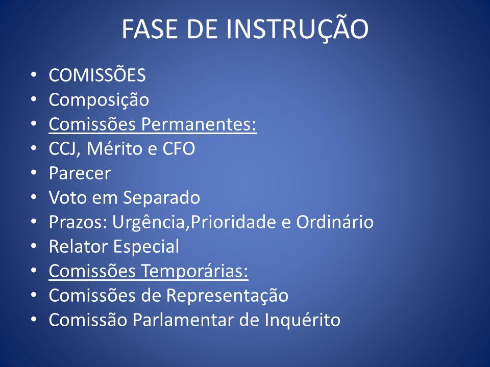 FASE DE INSTRUÇÃO COMISSÕES Composição Comissões Permanentes: