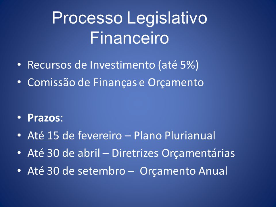 Processo Legislativo Financeiro