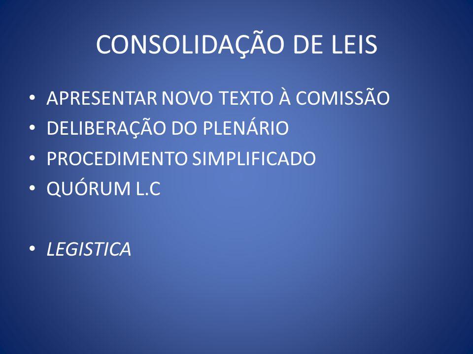 CONSOLIDAÇÃO DE LEIS APRESENTAR NOVO TEXTO À COMISSÃO
