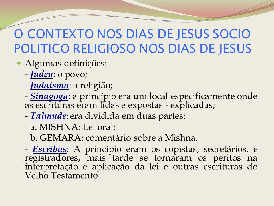 O CONTEXTO NOS DIAS DE JESUS SOCIO POLITICO RELIGIOSO NOS DIAS DE JESUS