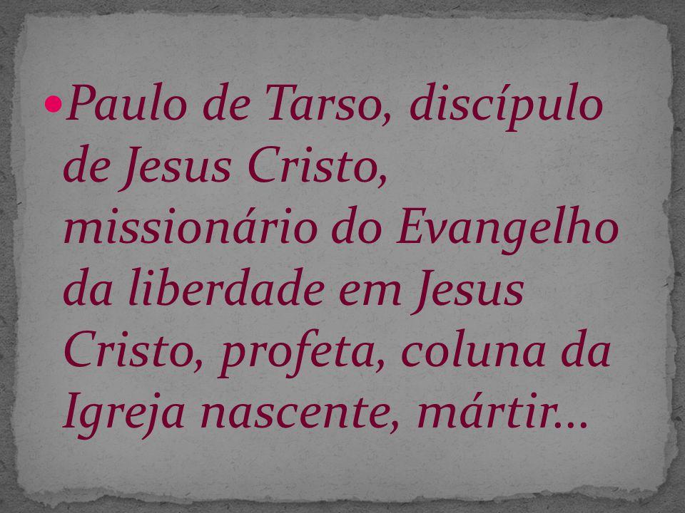 Paulo de Tarso, discípulo de Jesus Cristo, missionário do Evangelho da liberdade em Jesus Cristo, profeta, coluna da Igreja nascente, mártir...