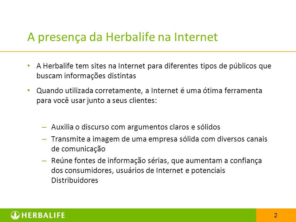 A presença da Herbalife na Internet