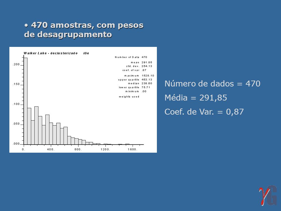 470 amostras, com pesos de desagrupamento