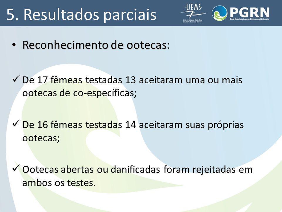 5. Resultados parciais Reconhecimento de ootecas: