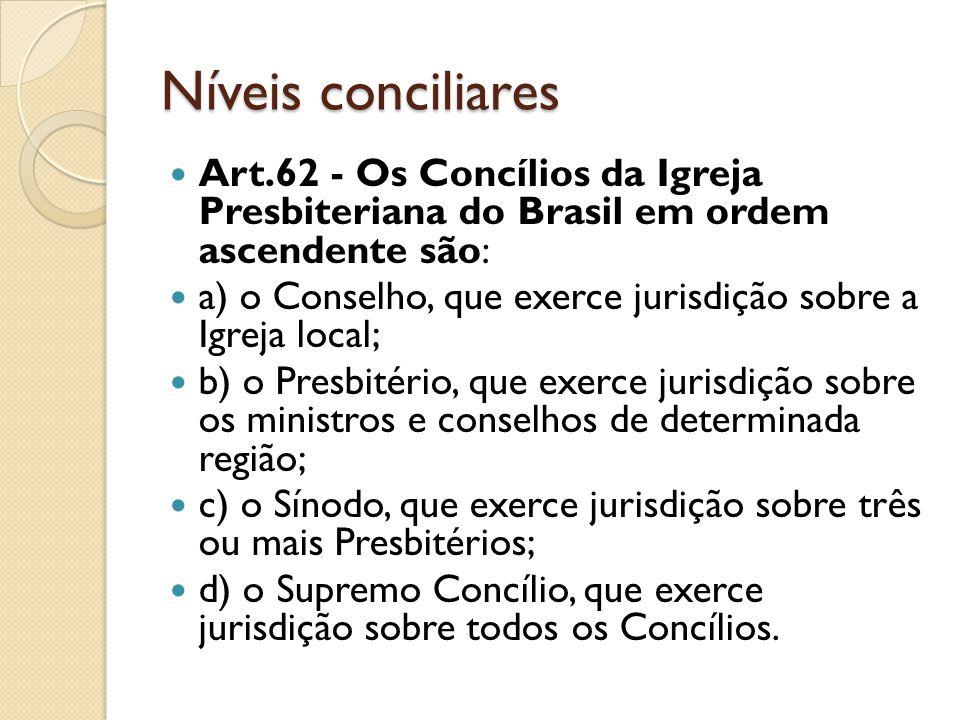 Níveis conciliares Art.62 - Os Concílios da Igreja Presbiteriana do Brasil em ordem ascendente são: