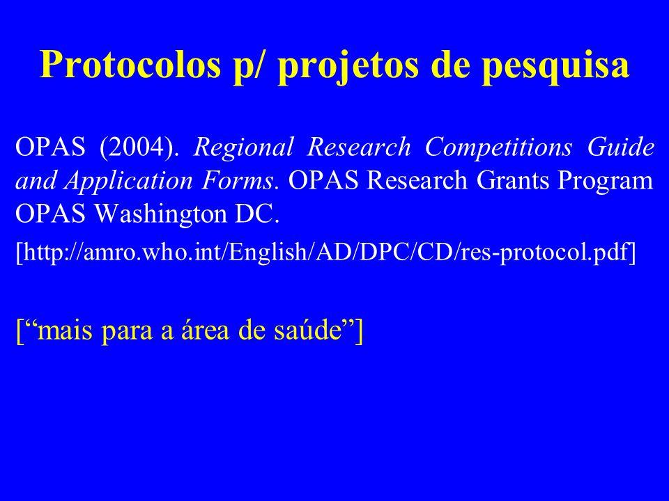 Protocolos p/ projetos de pesquisa