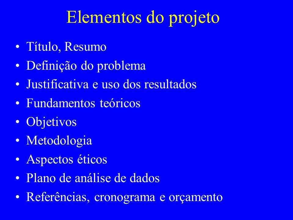 Elementos do projeto Título, Resumo Definição do problema