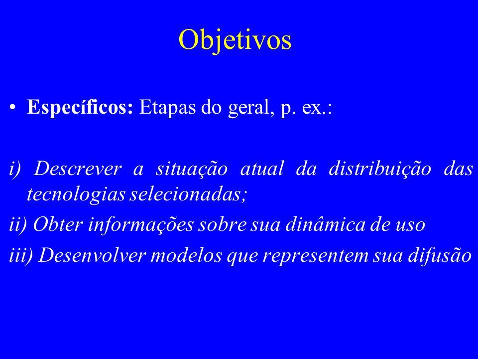 Objetivos Específicos: Etapas do geral, p. ex.:
