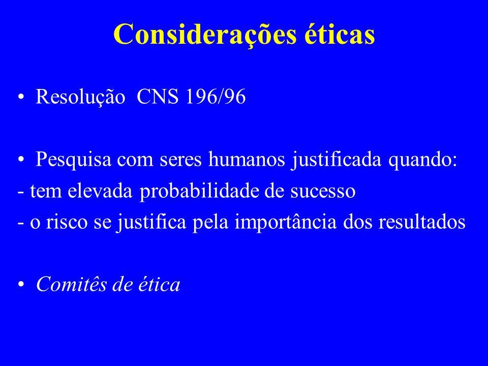 Considerações éticas Resolução CNS 196/96