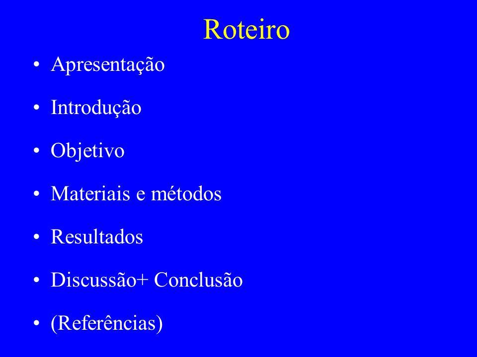 Roteiro Apresentação Introdução Objetivo Materiais e métodos