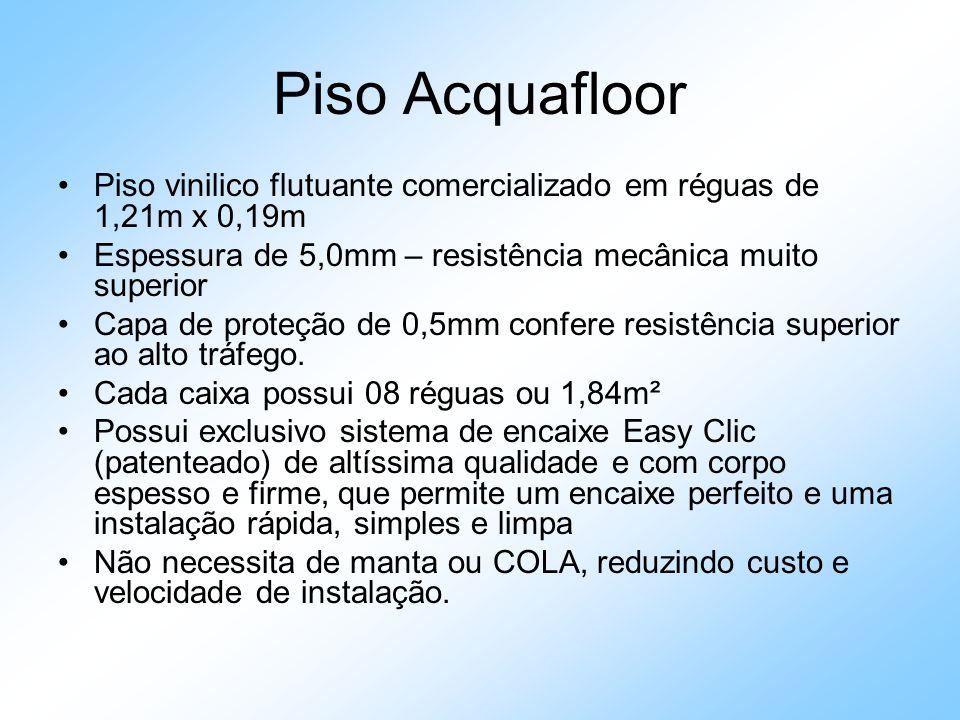 Piso Acquafloor Piso vinilico flutuante comercializado em réguas de 1,21m x 0,19m. Espessura de 5,0mm – resistência mecânica muito superior.