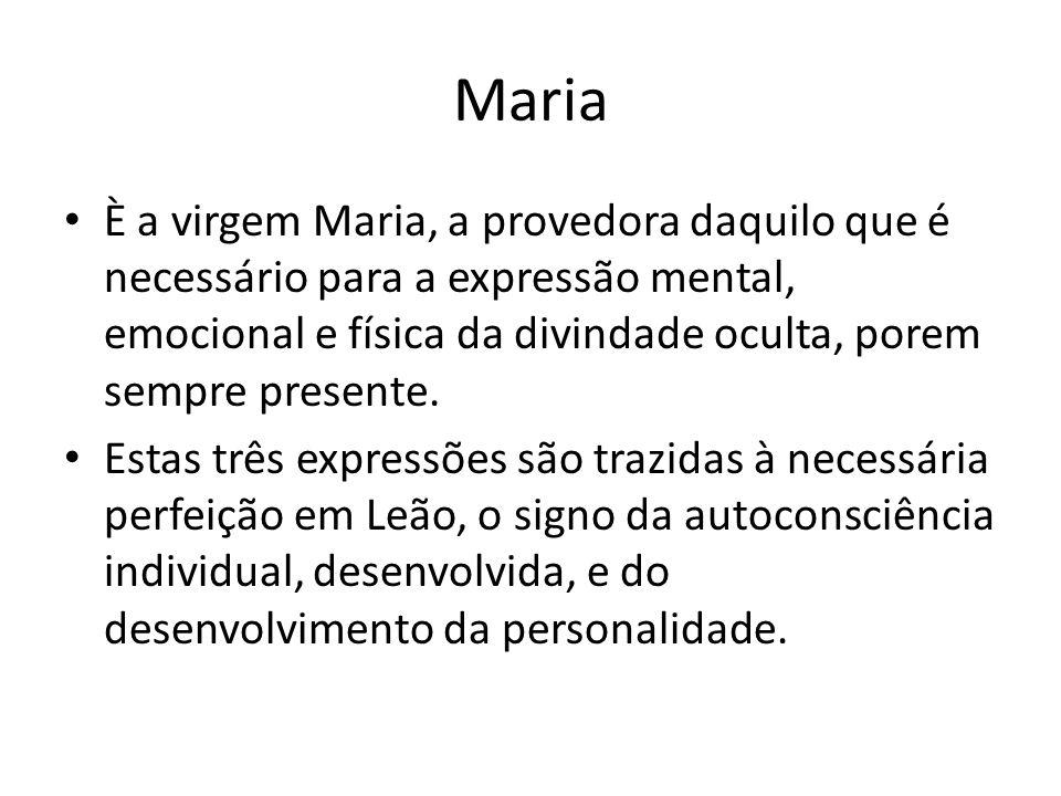 Maria È a virgem Maria, a provedora daquilo que é necessário para a expressão mental, emocional e física da divindade oculta, porem sempre presente.