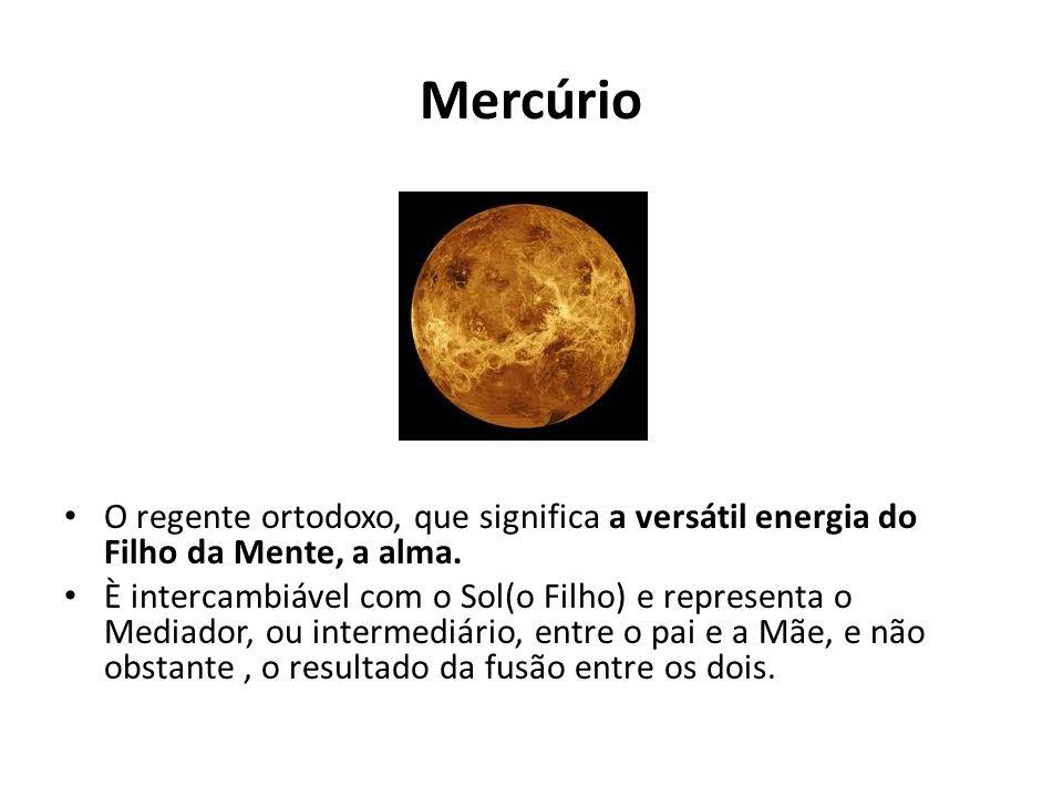 Mercúrio O regente ortodoxo, que significa a versátil energia do Filho da Mente, a alma.