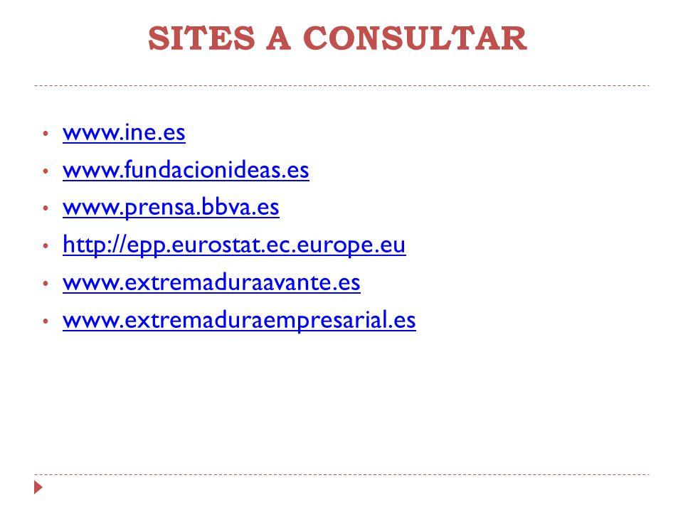 SITES A CONSULTAR www.ine.es www.fundacionideas.es www.prensa.bbva.es