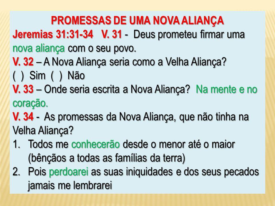 PROMESSAS DE UMA NOVA ALIANÇA