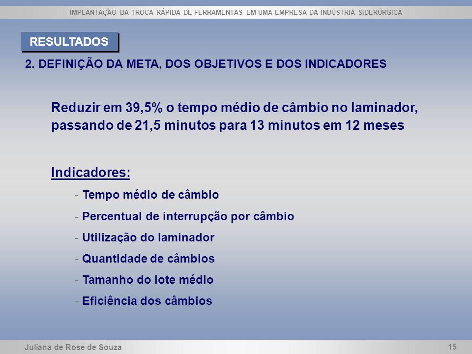 RESULTADOS 2. DEFINIÇÃO DA META, DOS OBJETIVOS E DOS INDICADORES.