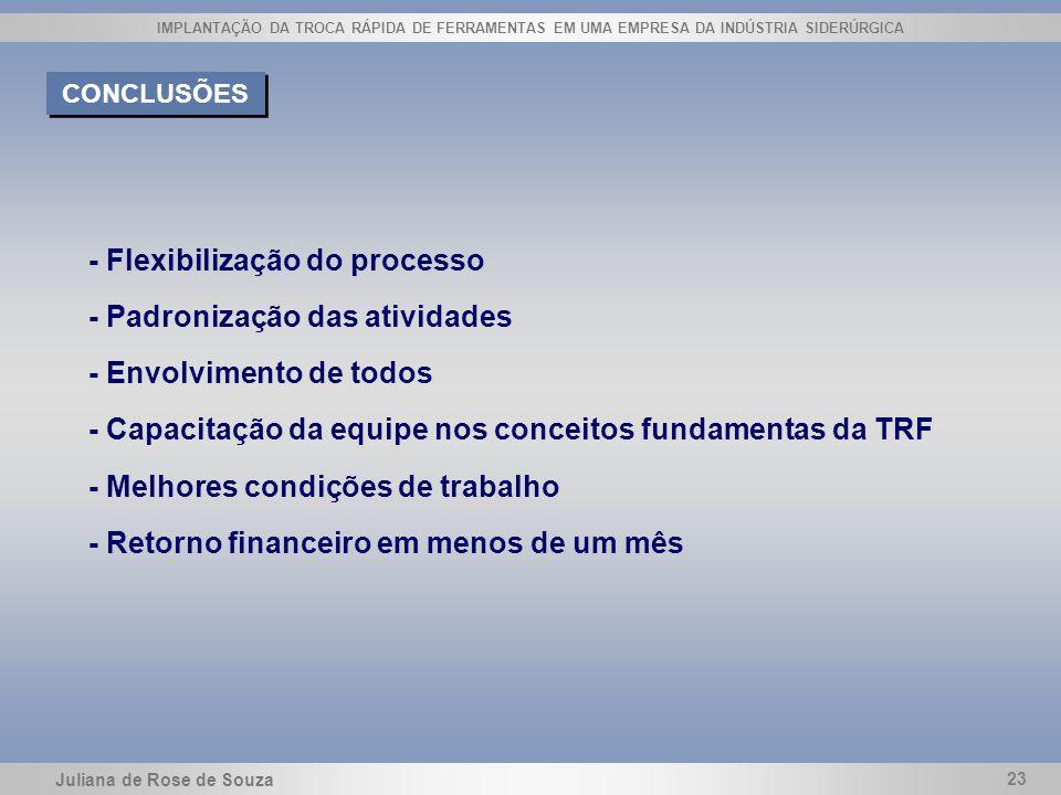 - Flexibilização do processo - Padronização das atividades