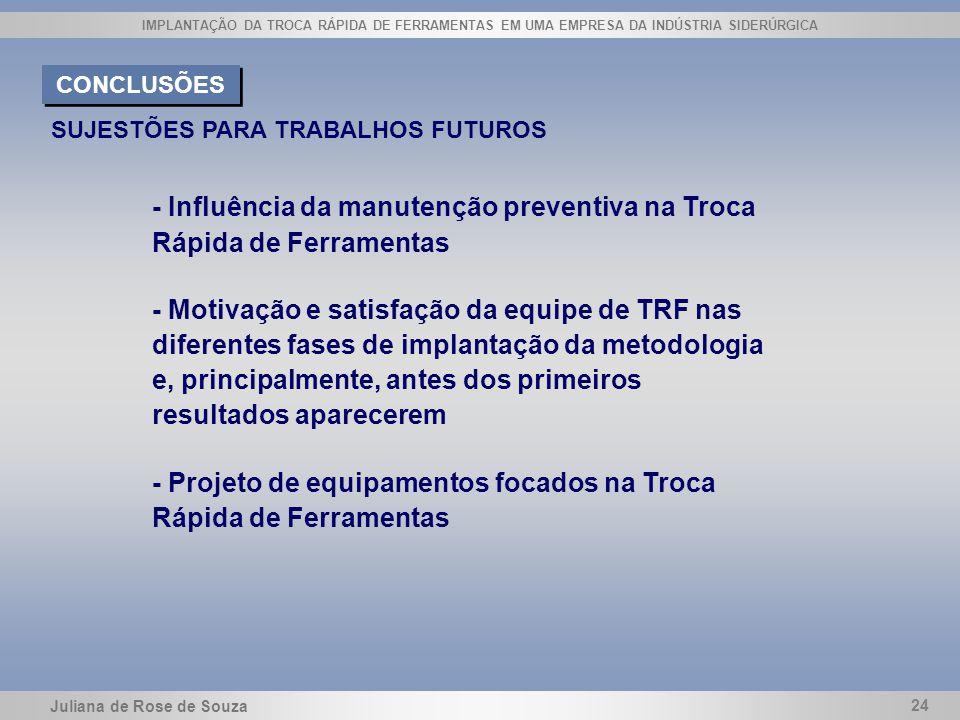 - Influência da manutenção preventiva na Troca Rápida de Ferramentas