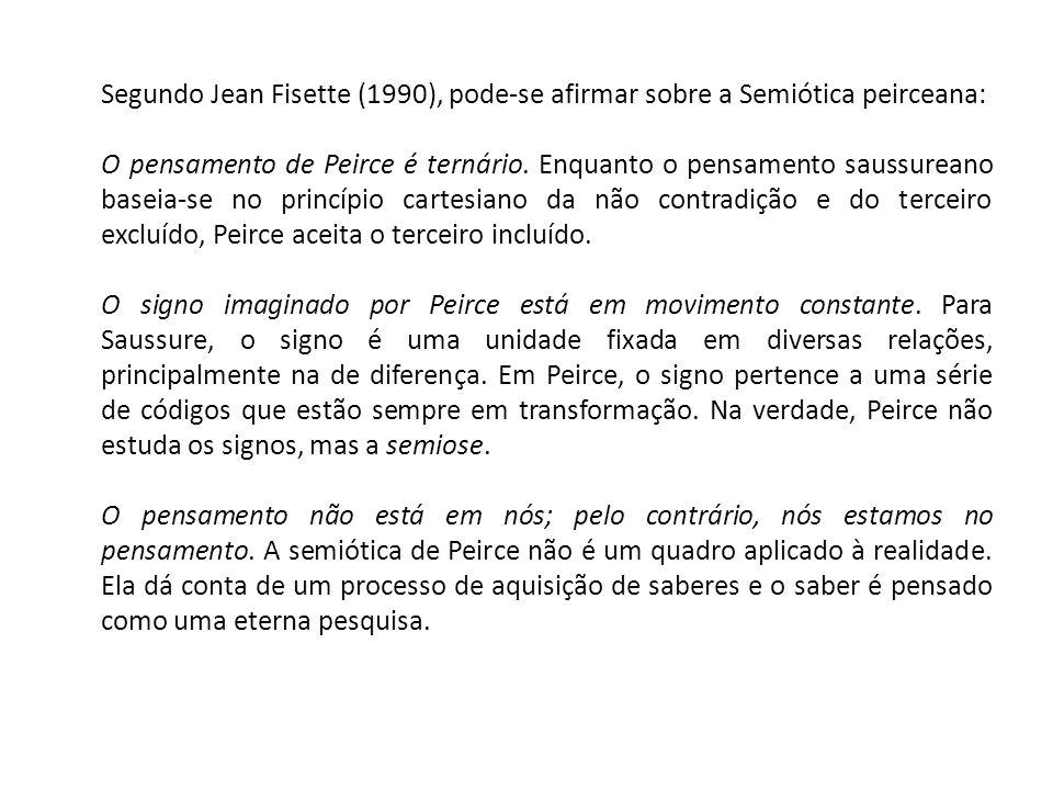 Segundo Jean Fisette (1990), pode-se afirmar sobre a Semiótica peirceana: