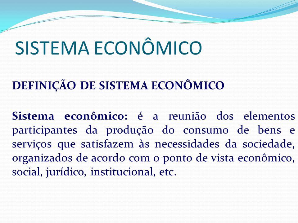 SISTEMA ECONÔMICO IDEFINIÇÃO DE SISTEMA ECONÔMICO