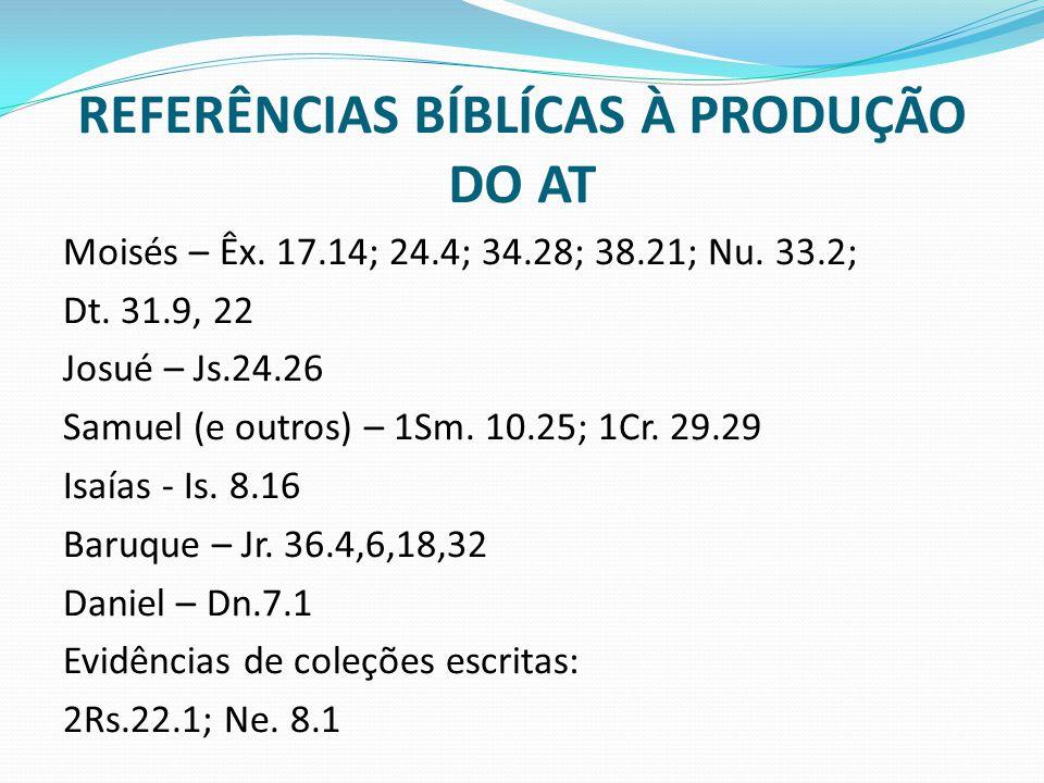 REFERÊNCIAS BÍBLÍCAS À PRODUÇÃO DO AT