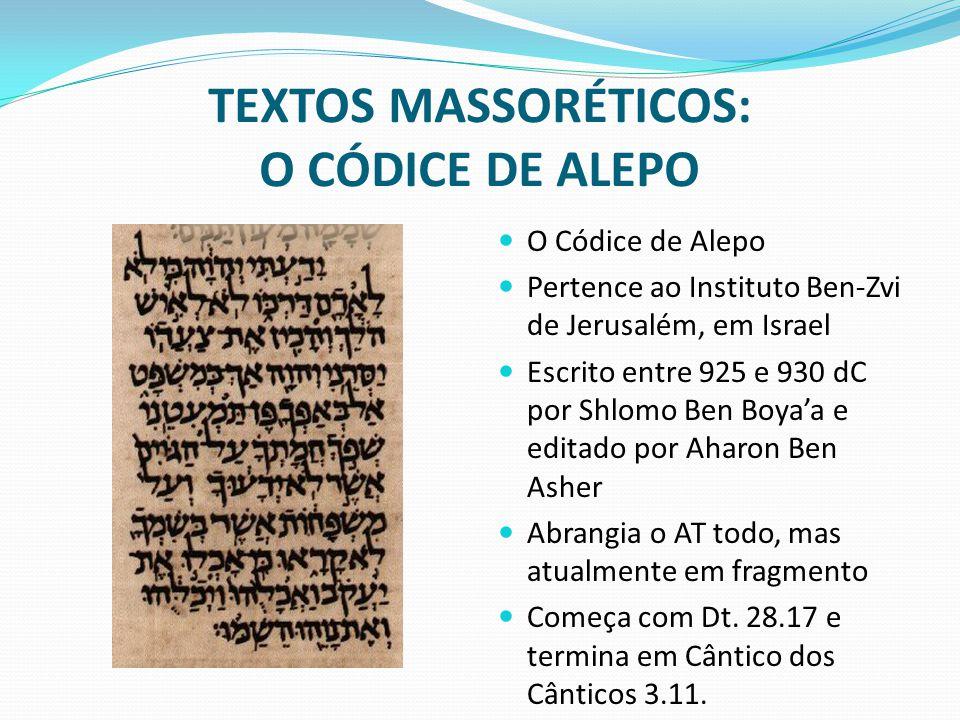 TEXTOS MASSORÉTICOS: O CÓDICE DE ALEPO