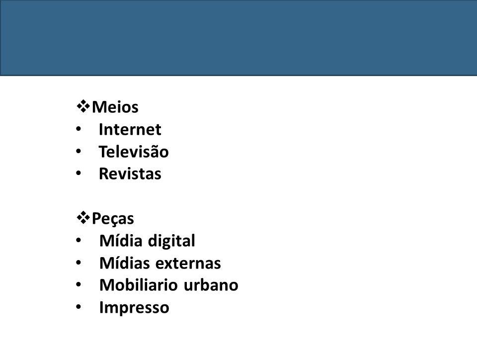 Meios Internet Televisão Revistas Peças Mídia digital Mídias externas Mobiliario urbano Impresso