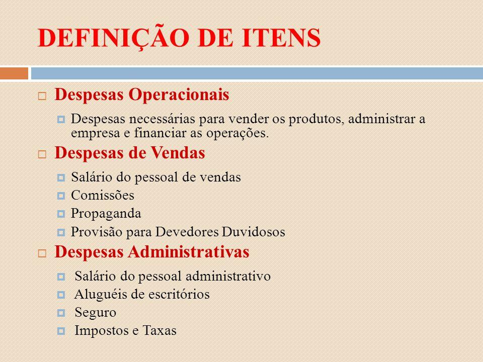 DEFINIÇÃO DE ITENS Despesas Operacionais Despesas de Vendas