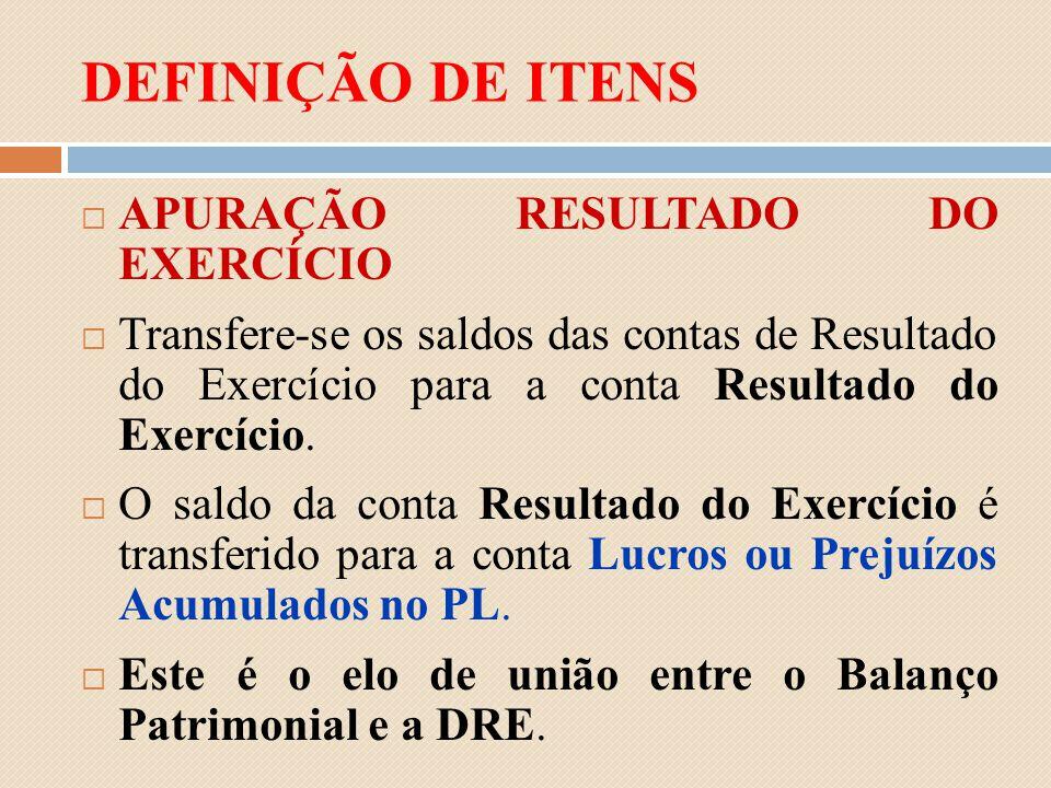 DEFINIÇÃO DE ITENS APURAÇÃO RESULTADO DO EXERCÍCIO
