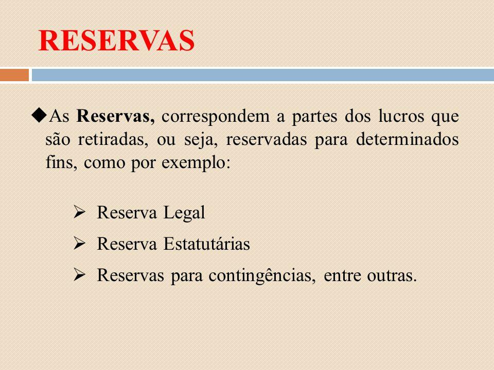 RESERVAS As Reservas, correspondem a partes dos lucros que são retiradas, ou seja, reservadas para determinados fins, como por exemplo: