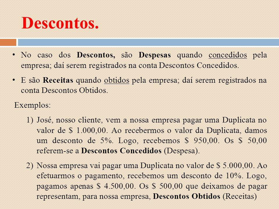 Descontos. No caso dos Descontos, são Despesas quando concedidos pela empresa; daí serem registrados na conta Descontos Concedidos.