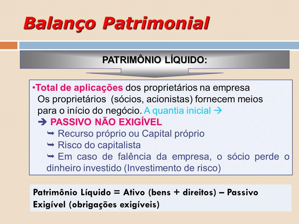 Balanço Patrimonial Patrimônio Líquido = Ativo (bens + direitos) – Passivo Exigível (obrigações exigíveis)