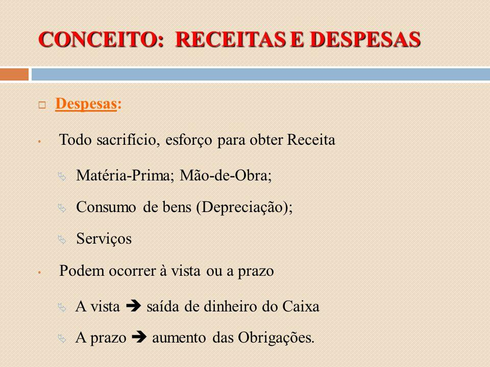 CONCEITO: RECEITAS E DESPESAS