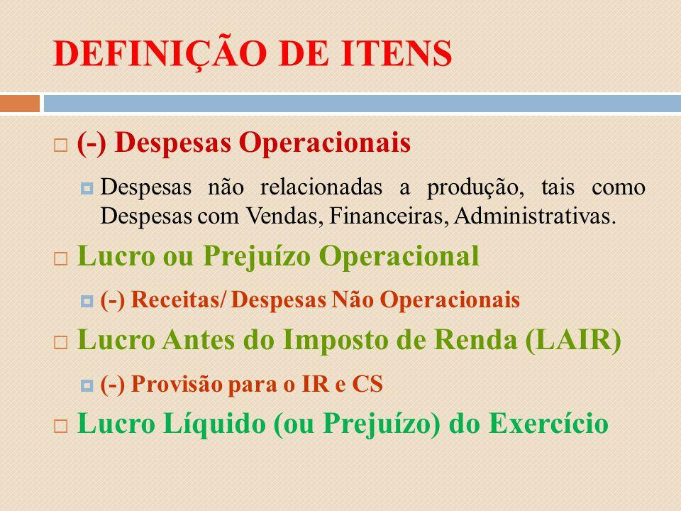 DEFINIÇÃO DE ITENS (-) Despesas Operacionais