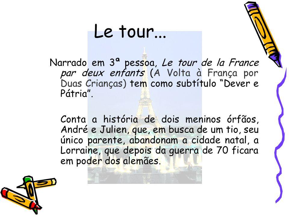 Le tour... Narrado em 3ª pessoa, Le tour de la France par deux enfants (A Volta à França por Duas Crianças) tem como subtítulo Dever e Pátria .