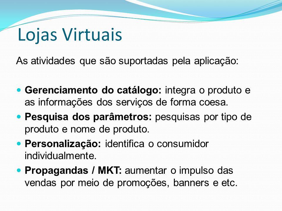 Lojas Virtuais As atividades que são suportadas pela aplicação: