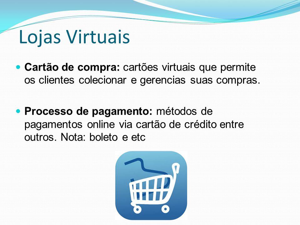 Lojas Virtuais Cartão de compra: cartões virtuais que permite os clientes colecionar e gerencias suas compras.